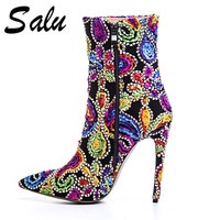 Salu 2018 new pointed toe super high heel ankle boots for Genuine leather women Ladies solid thin heel sort boots Female