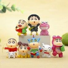 8 шт./компл. 3-4 см ПВХ Crayon Shinchan фигурка игрушка, милый Crayon Shin Chan фигурка модели мультфильм аниме детские игрушки подарки