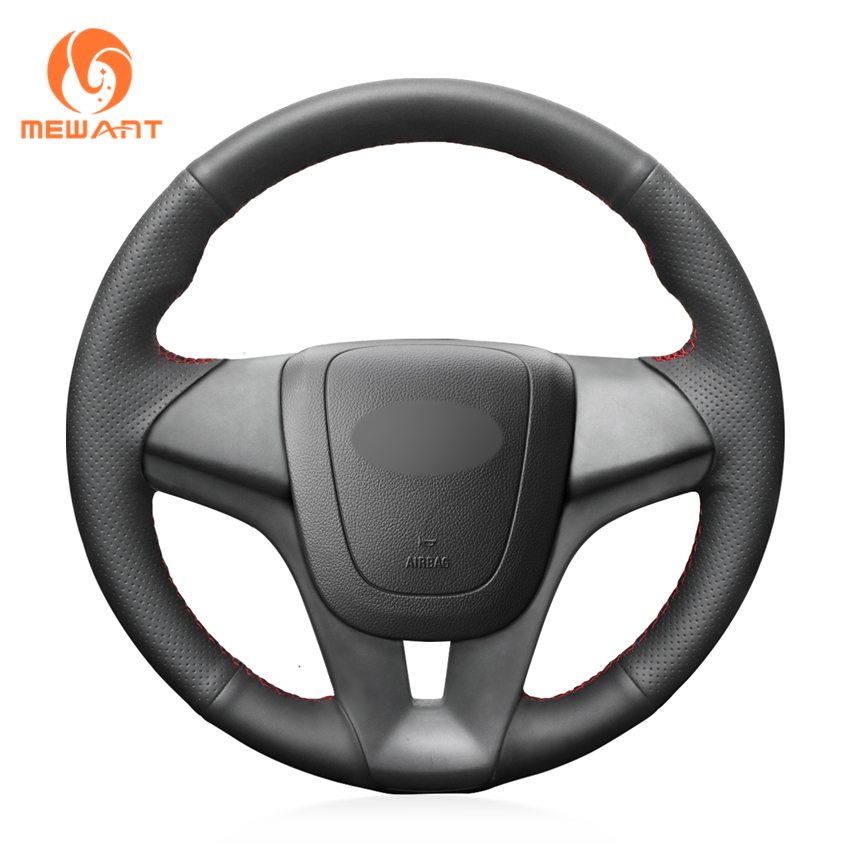 MEWANT Hand-Stitched Black Artificial Leather Steering Wheel Cover for Chevrolet Cruze 2009-2014 Aveo 2011-2014 Orlando 2010