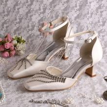 Wedopusที่กำหนดเองที่ทำด้วยมือต่ำก้อนส้นผู้หญิงตารางนิ้วเท้ารองเท้ารองเท้าแตะไอวอรี่
