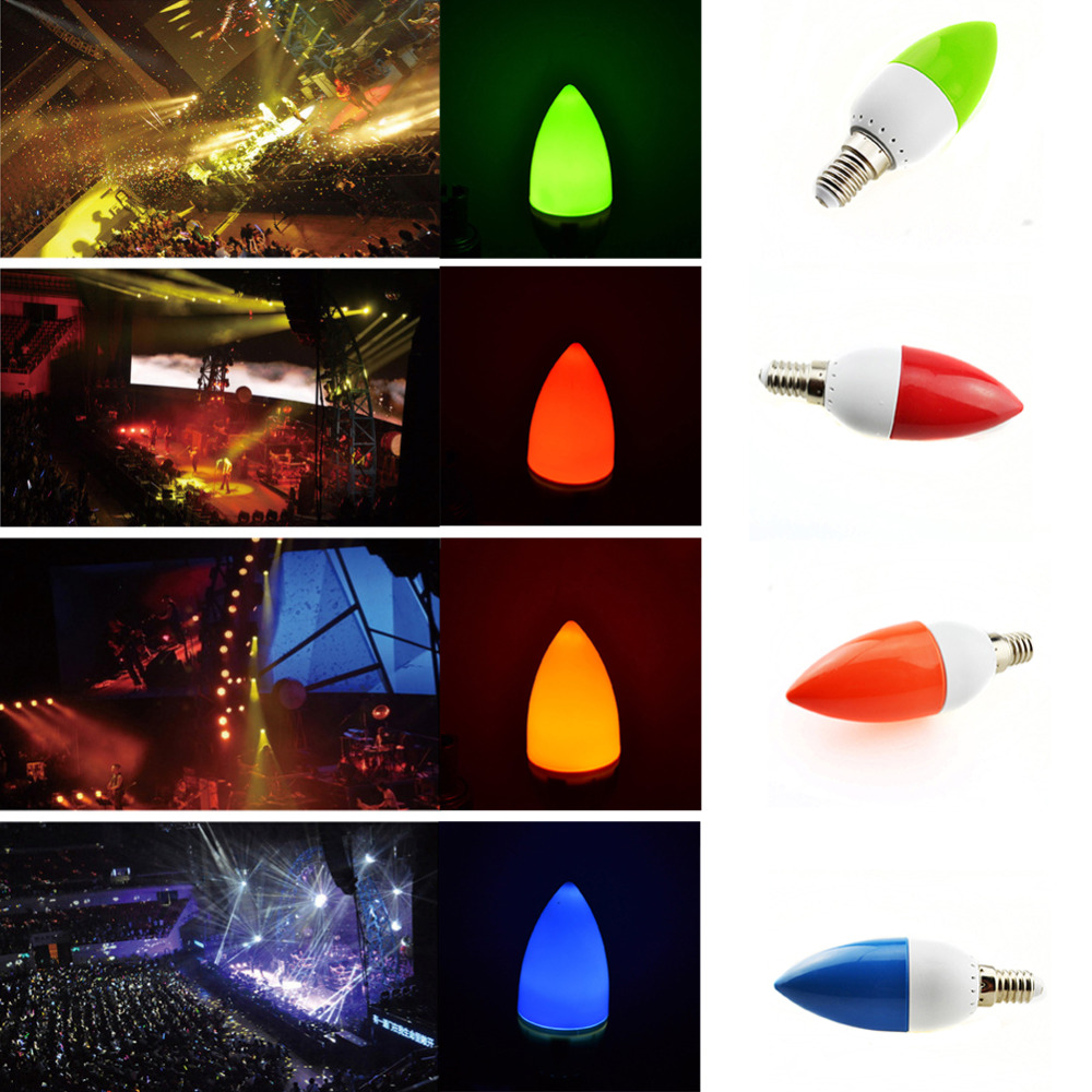 5W LED Candle Bulbs Chandelier Lights Red Green Blue ...