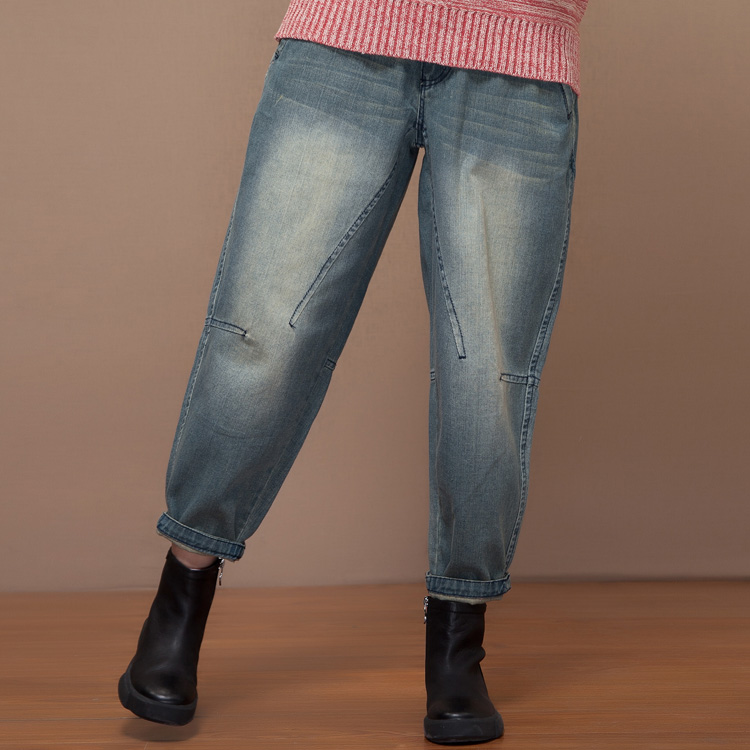 2016 autumn and winter product launches, wide-legged tall waist loose big yards female nine points harlan bootcut jeans