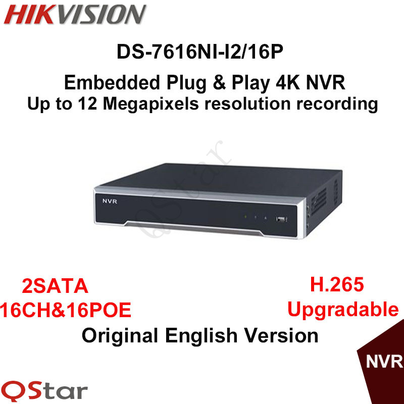 Hikvision Original English Version DS-7616NI-I2/16P 16ch NVR with 2SATA and 16 POE , HDMI VGA plug & play 4K 16ch 8poe nvr 7616ni se p original english version