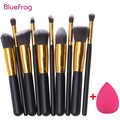 BLUEFRAG Mini 10pcs Makeup Brushes Foundation Blending Blush Make up Brush  + 1 Water Sponge Cosmetics Puff, Beauty tool Kit Set
