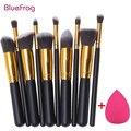 Bluefrag mini 10 pcs pincéis de maquiagem fundação mistura de blush maquiagem escova + 1 água esponja cosméticos puff, Kit de ferramentas de beleza Conjunto