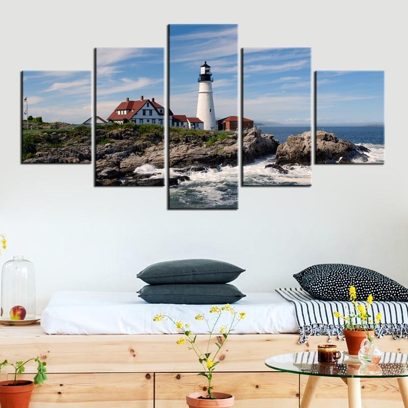 5 панелей большой маяк изображение Рамки Современные Холст Книги по искусству принты мор ...