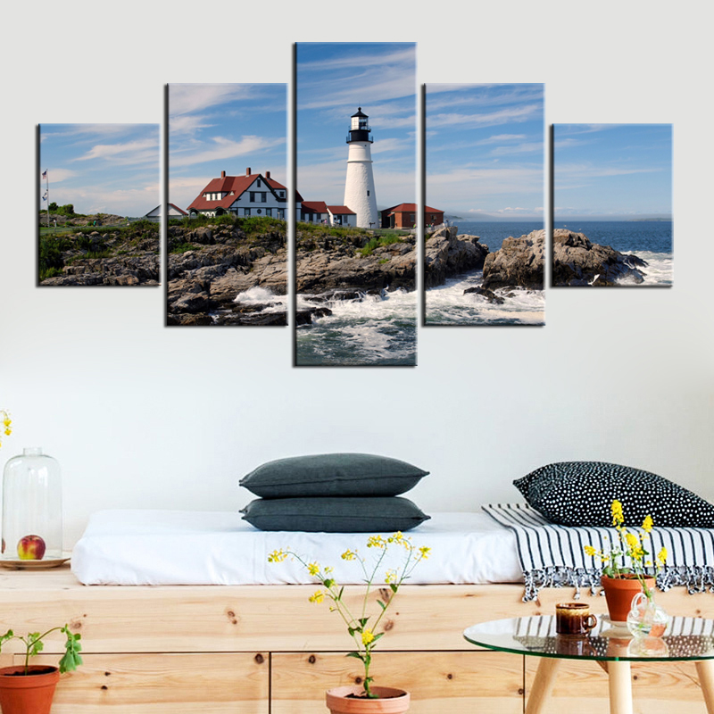 5 Panels Large Lighthouse Picture Frame Modern Canvas Art Prints Seascape Portland Lighthouse Painting on Canvas Wall Art ...