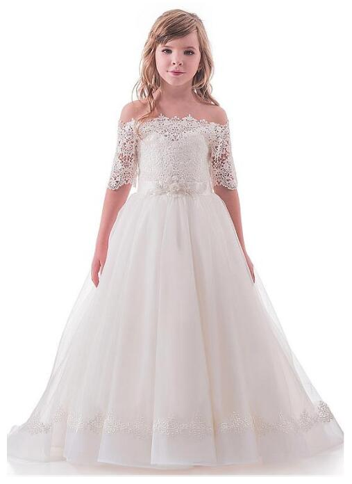 Sweet Tulle Lace Off-the-shoulder Neckline Ball Gown Flower Girl Dresses With Lace Appliques Beaded Belt Girls Dresses Any Size недорго, оригинальная цена
