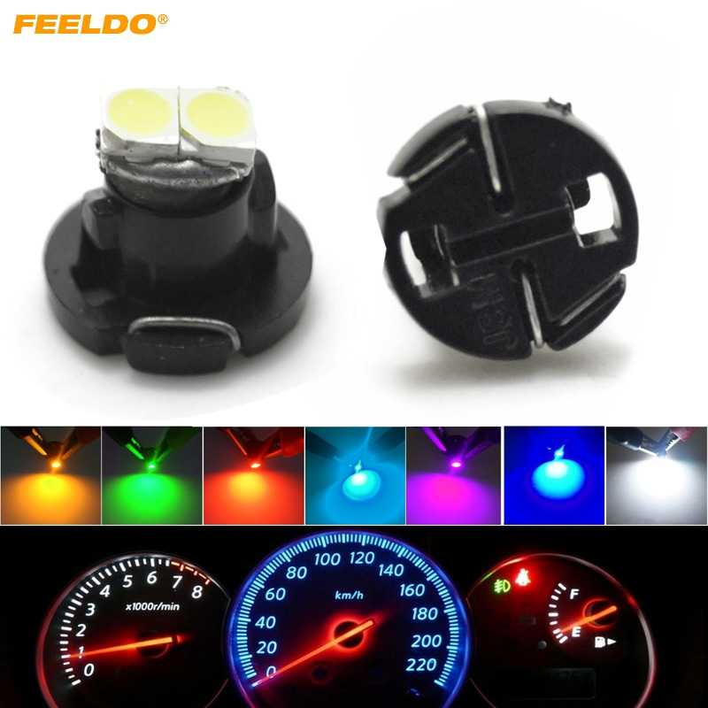 FEELDO 10 pièces T4.2 2SMD 1210/3528 voiture tableau de bord LED mètre panneau ampoule 7-couleur) #4771