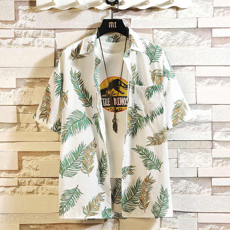인쇄 브랜드 여름 뜨거운 판매 남자 비치 셔츠 패션 반팔 꽃 느슨한 캐주얼 셔츠 플러스 아시아 크기 M-4XL 5XL 하와이