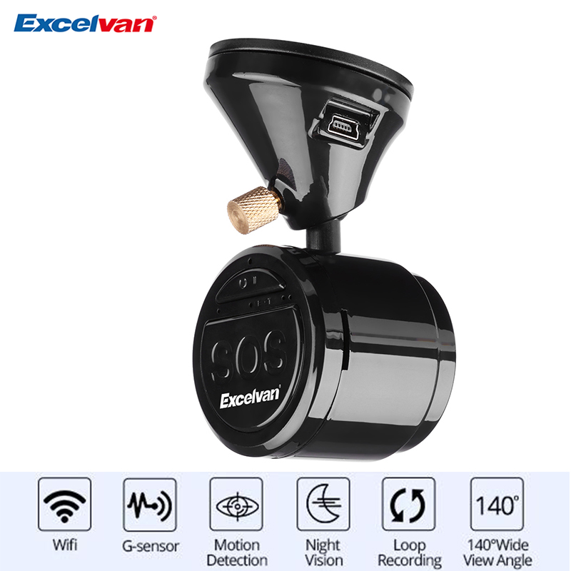 Clear Stock Excelvan Car DVR Dash Camera Cam Camcorder Energy Save Full HD 1080P 140 Degree Wifi Digital Video Recorder Vehicle