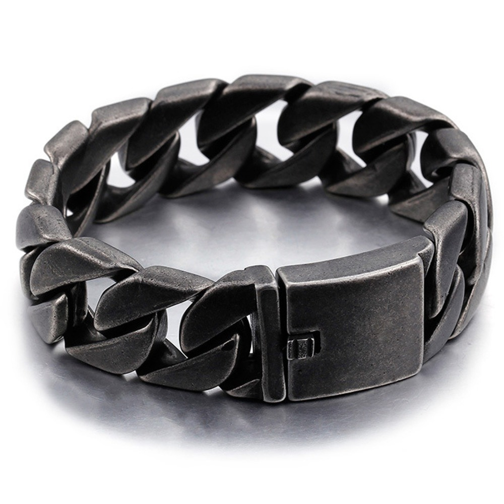 Fashion Mens Bracelets Biker Motorcycle 316L Stainless Steel Gunmetal Matte Punk Bracelet for Men 20mm 22cm Length trustylan shiny glossy 316l stainless steel mens bracelets 2018 20mm wide chain bracelets jewellery accessory man bracelet