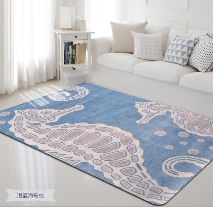 2018 Morden mer animaux corail velours tapis pour salon chambre tapis ordinateur canapé Table basse tapis et tapis de jeu - 3