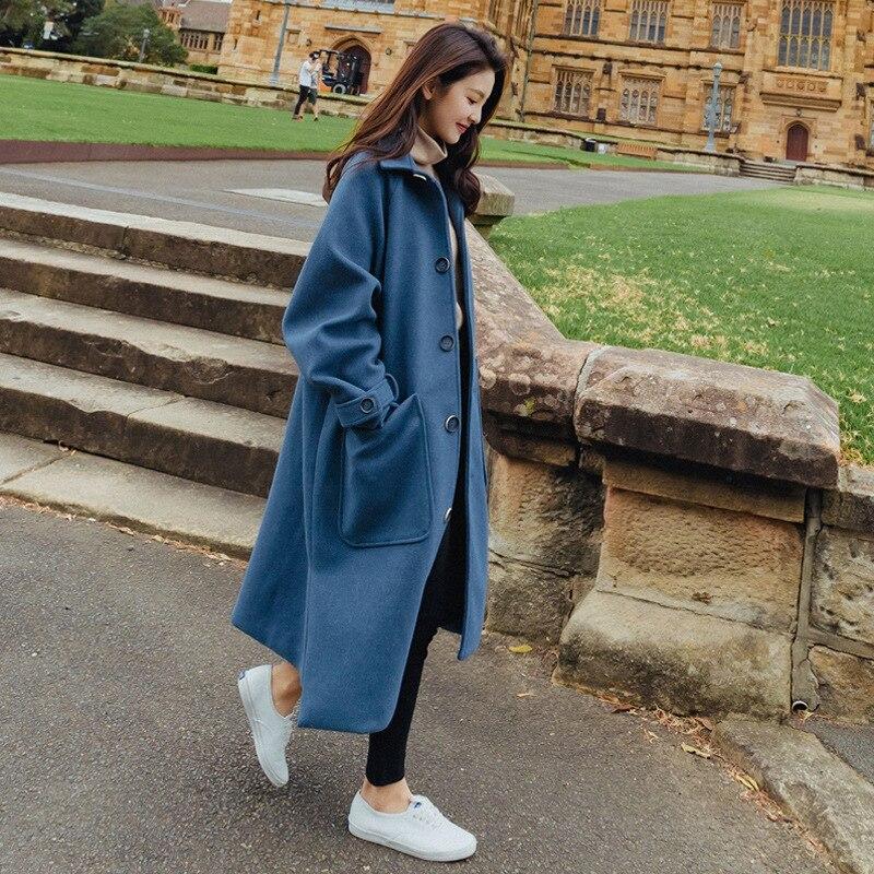 Long Mélange Unique Col Femmes Solide Manteaux Cachemire Beige Style Preppy Poitrine Dames Turn Laine À Veste Large bleu Taille En Manteau down 4CtqXxn
