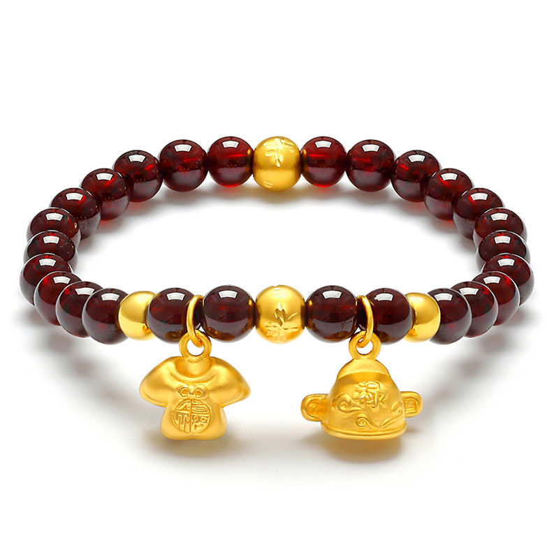 New Real 999 Yellow Gold 3D Luck Shirt Charm Garnet Beads Link Bracelet
