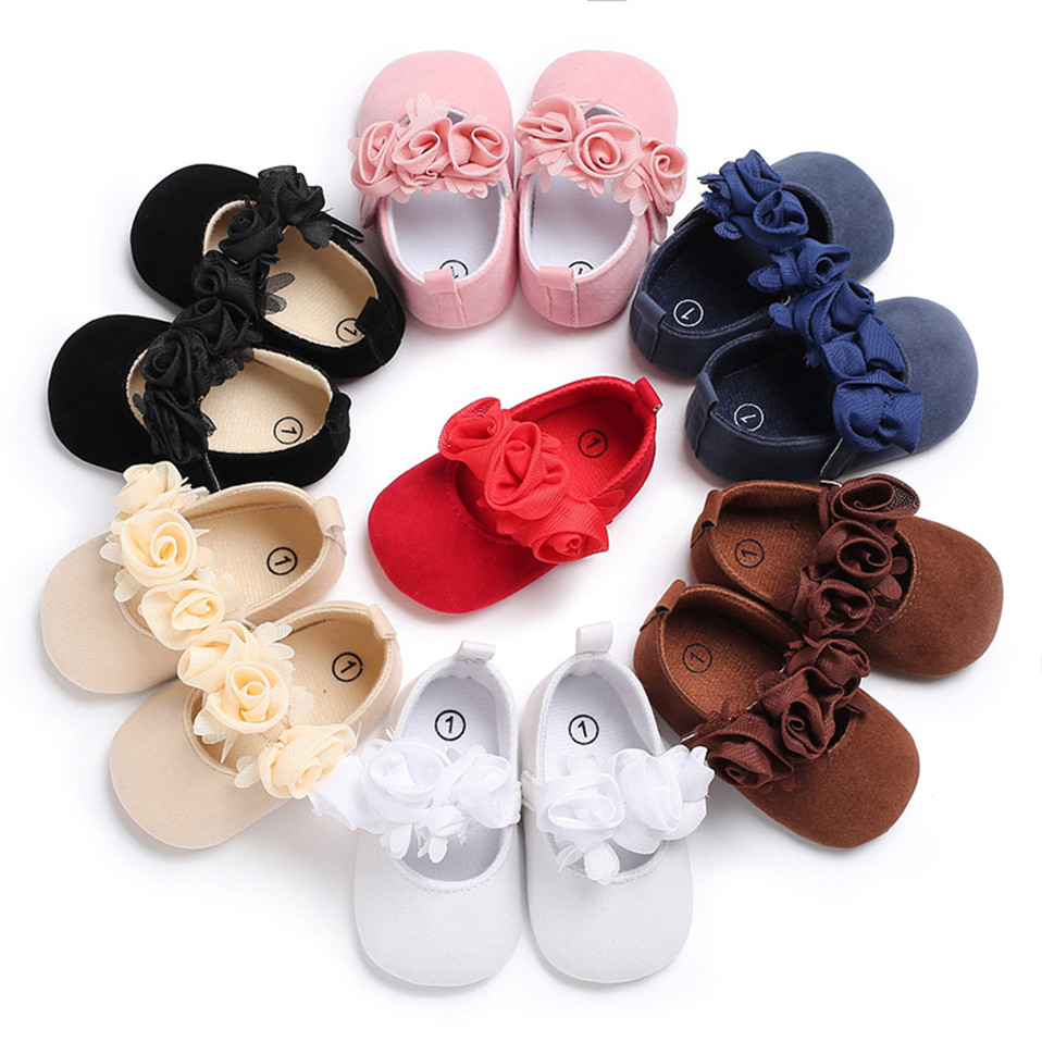Cute Floral Baby Shoes For Newborn Infant Toddler Girl Princess Shoes Soft Sole Prewalker Anti-slip Baby Shoes 0-18M