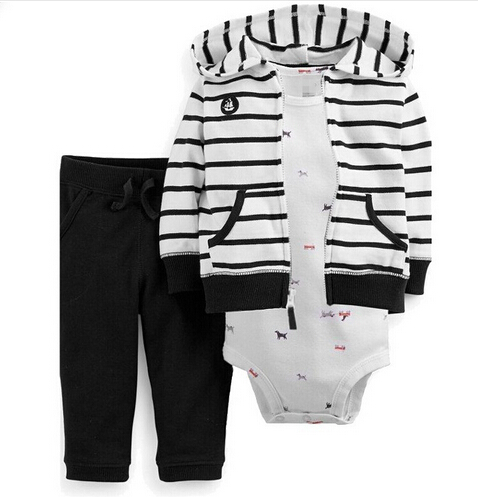 2016 New 3-Piece <font><b>French</b></font> <font><b>Terry</b></font> Cardigan Set, Jacket+Bodysuit+<font><b>Pant</b></font> Clothing Set, Baby Stripped Fashion Suit