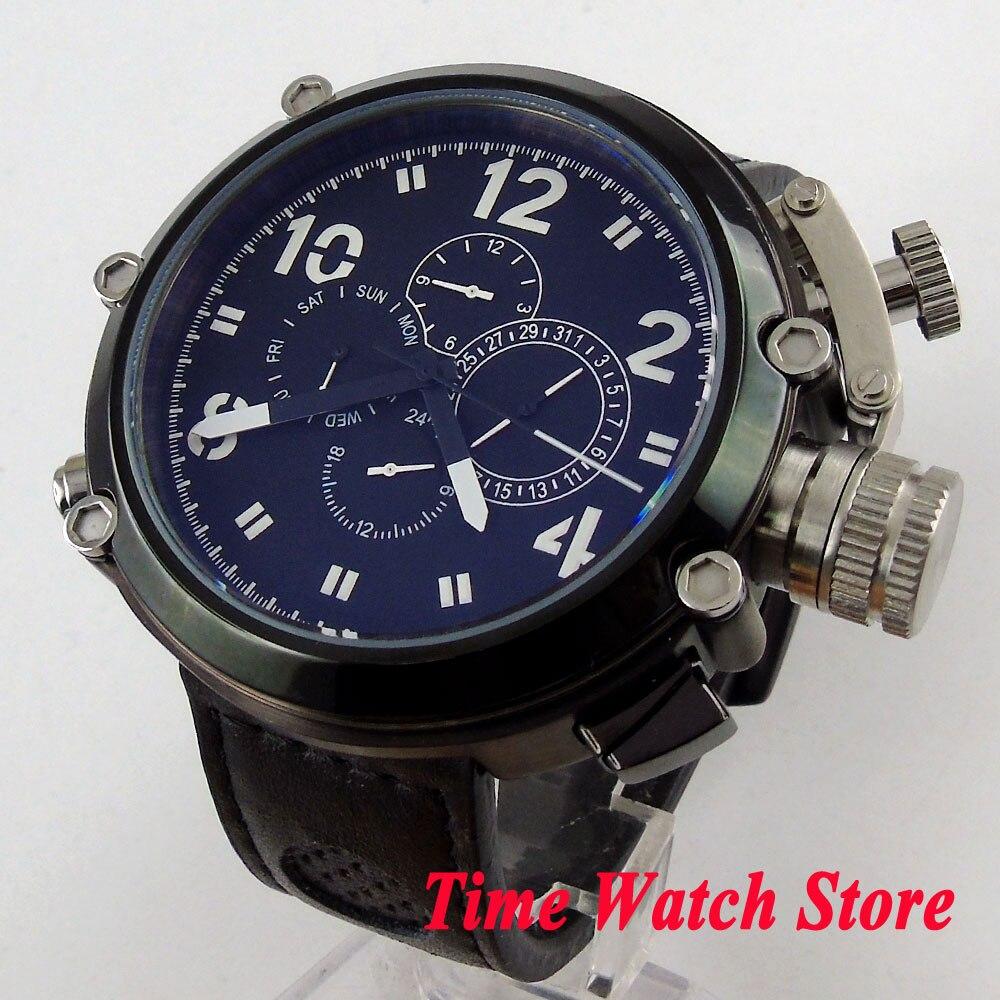 Parnis montre spéciale 50mm PVD boîtier noir cadran date semaine affichage multifonction automatique mouvement montre-bracelet hommes 1199