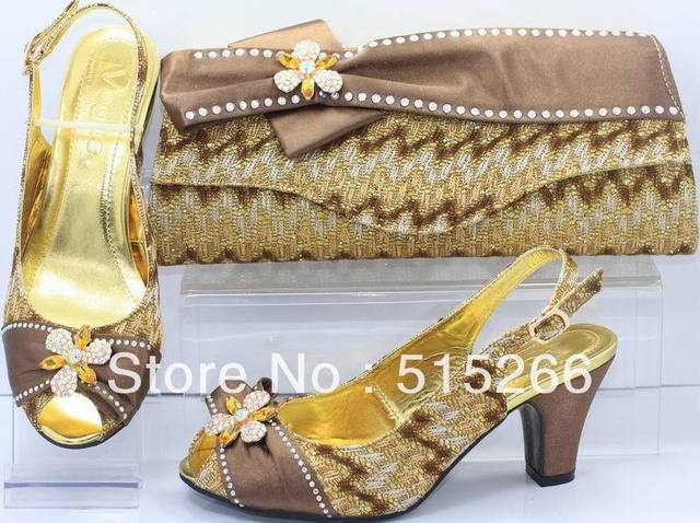 FREE SHIPPING! Hot sale Fashion Italy design shoes and matching bags ,coffee,Size 38-41 SB8705