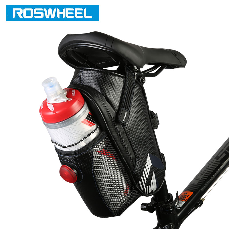 ROSWHEEL Bike Tail Bag Seatpost Pouch Bicycle Saddle Storage Cycling MTB Road Rear Pannier to hold water bottle LED Light Option generic 2 3 5l bicycle saddle bag cycling rear bag