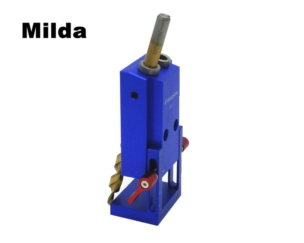 Milda Pocket Hole Jig Kit System For Wood Working & Joinery + Step Drill Bit & Accessories Mini Kreg Style Wood Work Tool Set