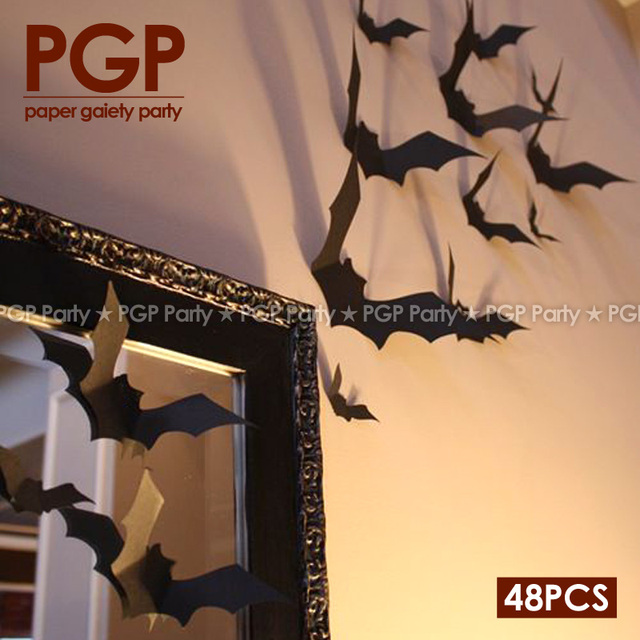 pgp bat swarm paperboard wall stricker 3d halloween backdrop diy indoor living room