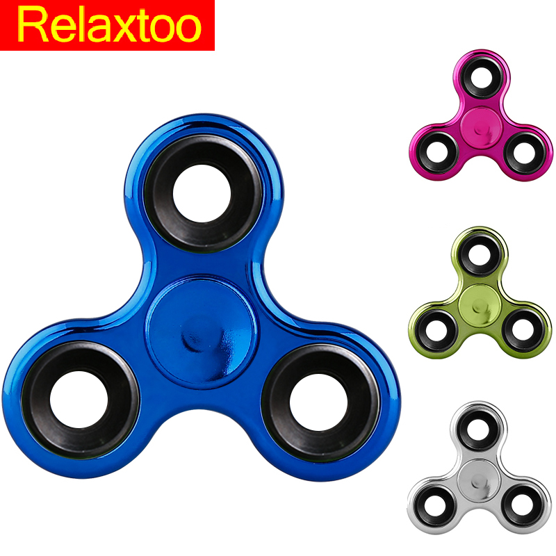 New 5 Colors Fidget Spinner Hand EDC Toy Finger Spinner Puzzle Plastic Plating Spinner Adult Kid Toy Gift Tri-spinner Gyro