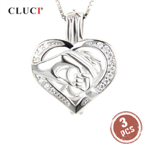 CLUCI 3pcs Silver 925 Hand by Hand Shaped Pearl Locket 925 Sterling Silver Cage Locket Pendant Women Gift for Friend SC084SB