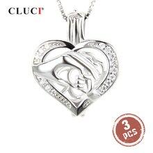 Cluci 3 Pcs Zilver 925 Hand Door Hand Vormige Parel Medaillon 925 Sterling Zilveren Kooi Medaillon Hanger Vrouwen Gift Voor vriend SC084SB