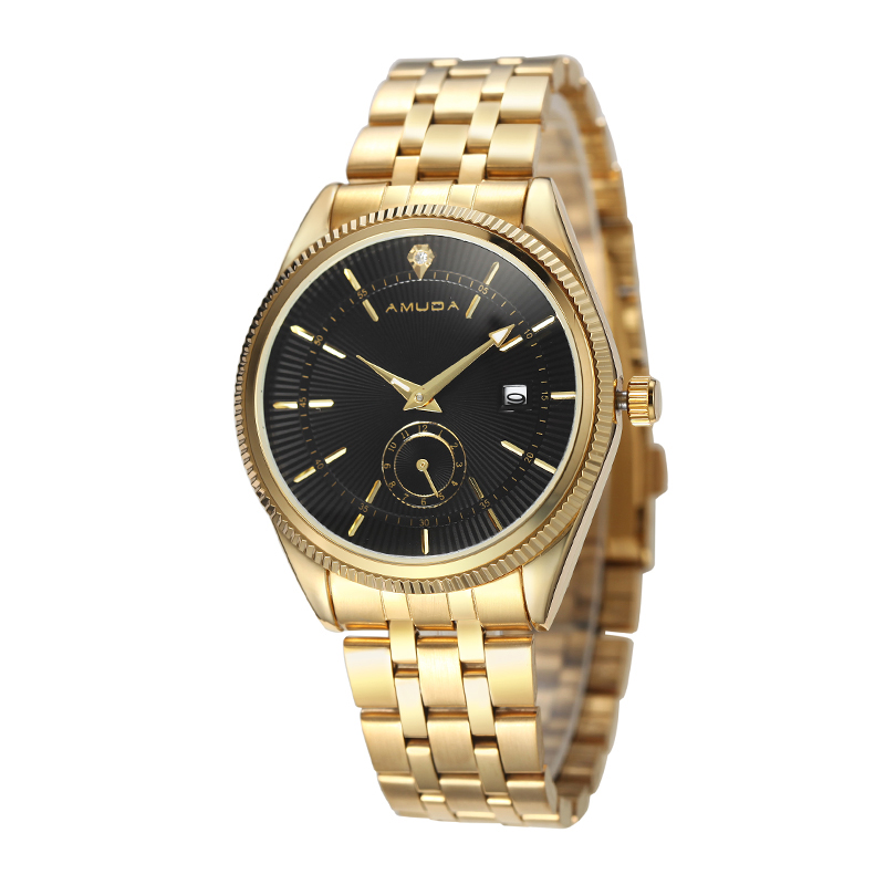Amuda Gold Watch Men Watches Top Brand Luxury Famous Wristwatch Male Clock Golden Quartz Wrist Watch Calendar Relogio Masculino chenxi wristwatches gold watch men watches top brand luxury famous male clock golden steel wrist quartz watch relogio masculino