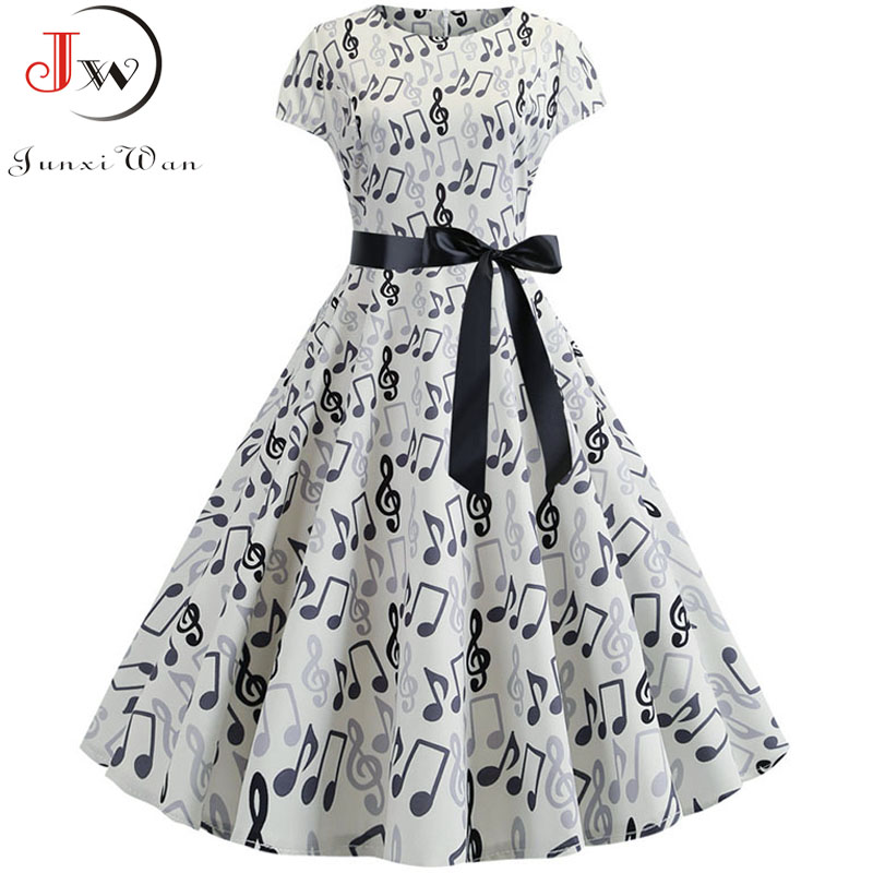 2019 Women Summer Music Note Print Dress 50s 60s Robe Retro Swing Casual Vintage Sleeveless Party Dresses Vestidos Plus Size