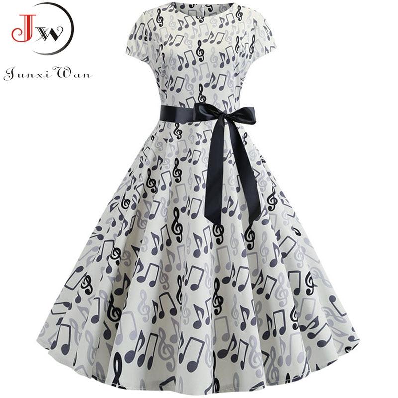 2019 Women Summer Music Note Print Dress 50s 60s Robe Retro Swing Casual Vintage Sleeveless Party Dresses Vestidos Plus Size