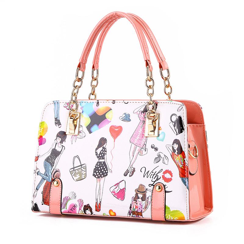 Fashion Women Tote Bags Patent Leather Flower Printing Handbag for Ladies Summer Beach Messenger Bag Girls Candy Color Chains patent leather handbag shoulder bag for women