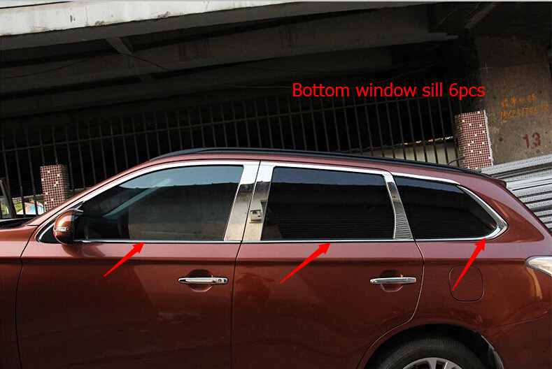 for mitsubishi outlander 2013 2014 exterior car styling bottom window frame sill trim 6pcs accessories in interior mouldings from automobiles motorcycles - Window Frame Kit