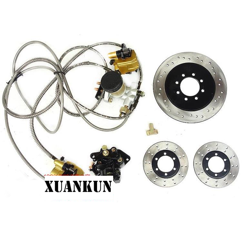 XUANKUN Four Karting Modified Parts A Drag Three Disc Brake Hydraulic Brake Pump With Brake Disc Foot Brake xuankun atv karting three wheeled motorcycle modified shaft drive differential rear axle suspension