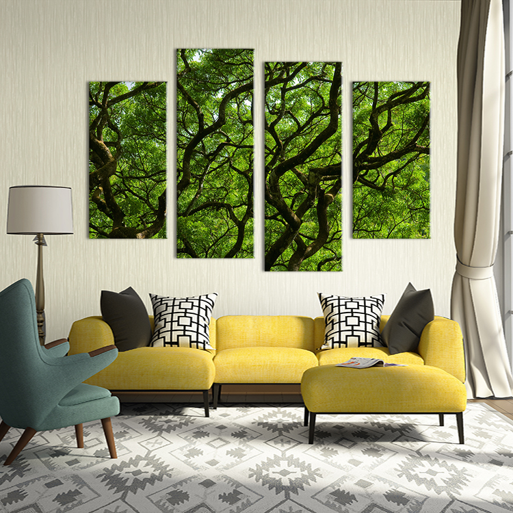 4 Panel Oka Green Tree Arts Wall Painting Print On Canvas For Home Decor Ideas Paints