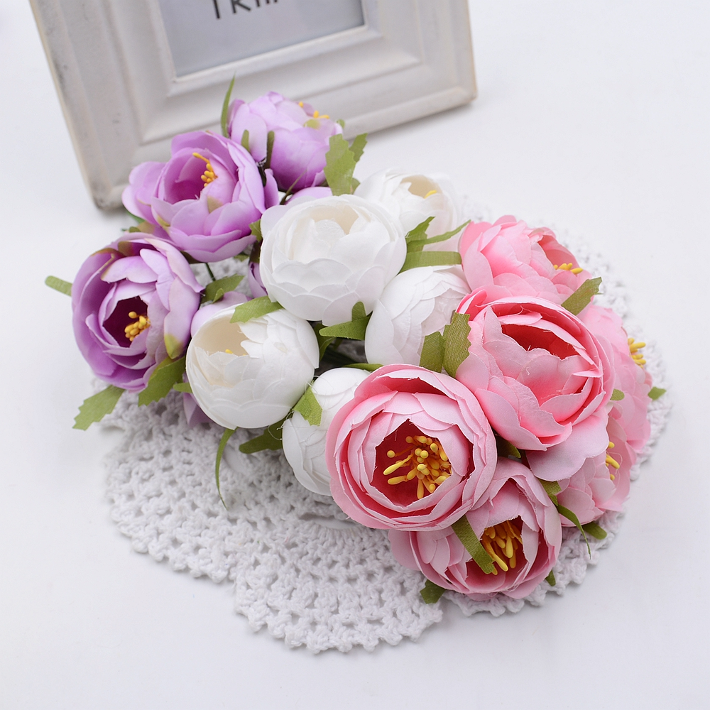 30pcs Silk Rose Tea Bud Artificial Flowers For Wedding Party Home Room Hats Shoes Decoration Marriage Wreath Plants