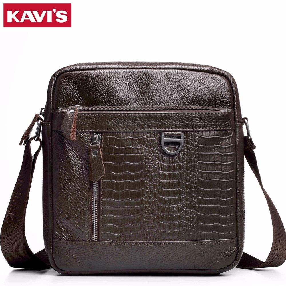 KAVIS 2017 Genuine Leather Messenger Bag Men Bags Male Small Man Fashion Business Crossbody Shoulder Bag Mens Travel New Sling