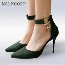 Plus Size 34-48 New Sexy Women Sandals Fashion Pointed Toe Thin High Heels Pumps Shoes Ankle strap Buckle Party Wedding shoes цена и фото