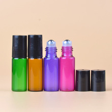 50pcs/lot 5ml empty roll on bottle essential oil coloful glass with stainless steel roller
