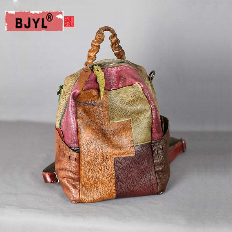 BJYL Retro genuine leather Women backpack female shoulder bags large capacity leather hand-stitched first layer cowhide backpack 2018 genuine leather women handbag new handmade retro shoulder bag large capacity first layer cowhide female crossbody bags