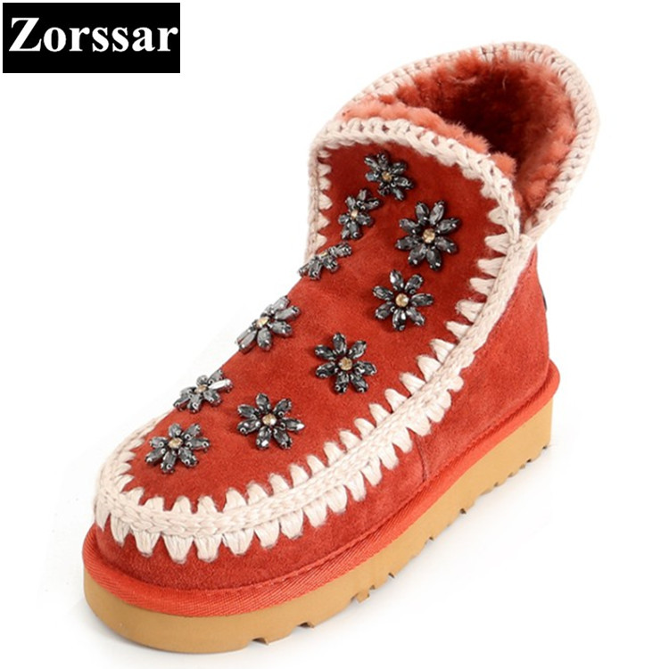 {Zorssar} 2017 NEW winter warm plush Womens snow Boots suede flat heel platform ankle Boots fashion crystal women shoes flats