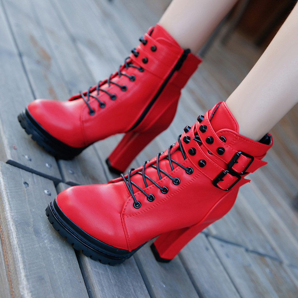 YOUYEDIAN Women Boots 2018 Ankle Boots For Women Lace Up Square Heel Winter Shoes Casual Super High Heel Boots Botas Mujer 13