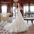 YiWuMenSa Vestido De Noiva Vintage Wedding Gowns Organgza Ruffles mermaid plus size sweetheart wedding dresses 2017 bride dress