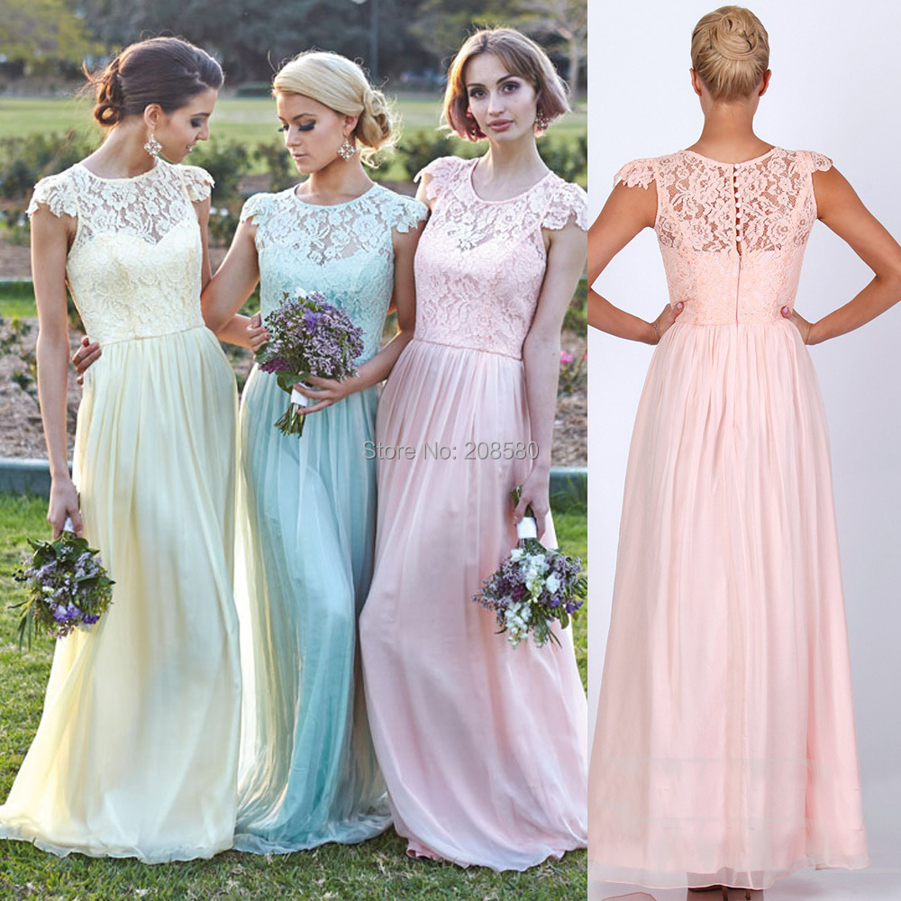Popular short and long bridesmaid dresses buy cheap short and long light yellow blue pink grey green lace cap sleeve long bridesmaid dresses 2016 vestido de festa ombrellifo Image collections