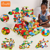 Tumama Blocks Multiple Changes Big Size Building Blocks Compatible Legoed Duploed Blocks Lepin Castle Toys For Children Bricks