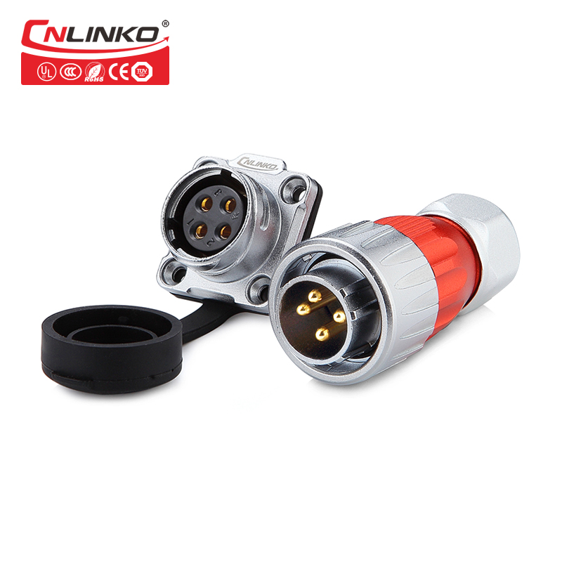 Cnlinko 20A current 4 pin plug and socket circular power connector waterproof IP65 panel mount cable connector for lab equipmentCnlinko 20A current 4 pin plug and socket circular power connector waterproof IP65 panel mount cable connector for lab equipment