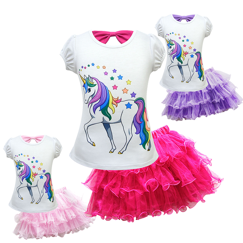 UnicornCosplay Costume Girls Costume For Kids Fancy Party Dress Up Carnaval Costumes For Girl's Skirts&Top Short Sleeve Suit