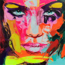 Palette knife painting portrait Face Oil Impasto figure on canvas Hand painted Francoise Nielly 09