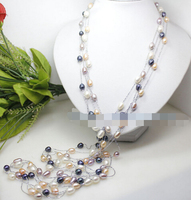 FREE SHIPPING>@@> N3806 lot 4 pcs real mix colorwhite pink lilac black rice pearl necklace 46 Jewelry